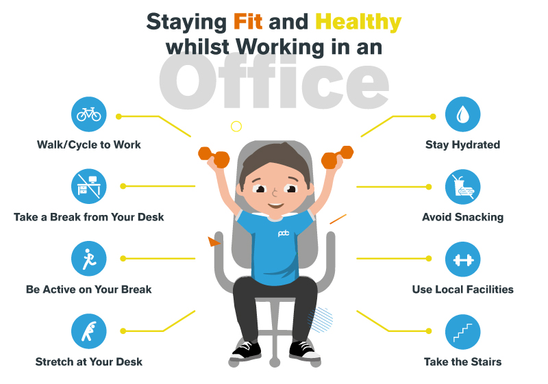 Staying Fit and Healthy whilst Working in an Office Infographic